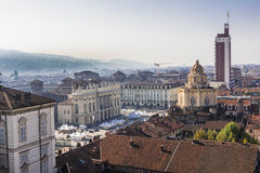 Aerial view of Piazza Castello in Turin Royalty Free Stock Images
