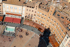 Aerial View on Piazza del Campo Royalty Free Stock Photography