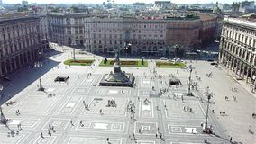 Aerial view of the Piazza del Duomo, Milan stock video footage