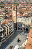 Aerial view of the Piazza delle Erbe, Verona, Italy Royalty Free Stock Photos