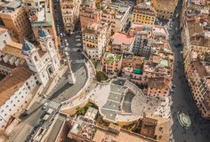 Piazza di Spagna and the Spanish Steps in Rome. Aerial view of Piazza di Spagna and the Spanish Steps in Rome stock images