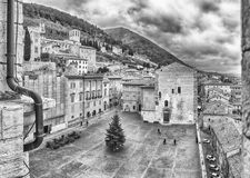 Aerial view of Piazza Grande, main square in Gubbio, Italy Stock Photos