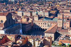 Aerial view on Piazza Maggiore in Bologna Royalty Free Stock Photography