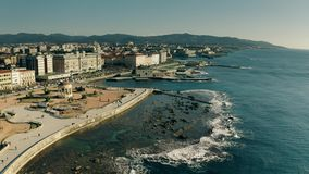 Aerial view of Piazza Mascagni square in Livorno, Italy stock footage