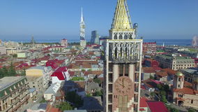 Aerial view of Piazza square in Batumi stock video