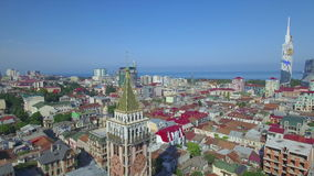 Aerial view of Piazza tower in Batumi stock video footage