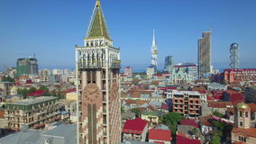 Aerial view of Piazza tower in Batumi stock video
