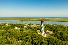 Aerial view of Saint Augustine Lighthouse at Anastasia Island in Florida. Aerial view picture of Saint Augustine Lighthouse at Anastasia Island in Florida royalty free stock image
