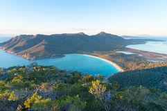 Aerial view of picturesque beach and mountains. On sunny morning. Freycinet Park, Tasmania. Australia Stock Photography