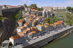 Aerial view of picturesque houses in historic centre of Porto, P Stock Image