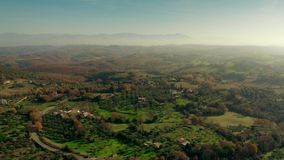 Aerial view of picturesque scenery of central Italy in winter. Aerial shot of picturesque Italian scenery stock video