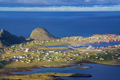 Norwegian fishing town. Aerial view of picturesque traditional norwegian fishing town of Sorland on island of Vaeroy, Lofoten, Norway Royalty Free Stock Photo
