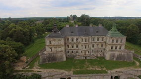 Aerial view of Pidhorodetsky Castle in Lviv region, Ukraine. With couple in love. Different shots 4k stock video footage