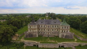 Aerial view of Pidhorodetsky Castle in Lviv region, Ukraine. With couple in love. Different shots 4k stock video