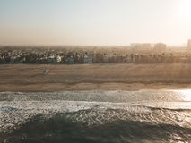 Fresh sunrise morning at the Venice beach in Los Angeles. Aerial. Aerial view of the pier in Los Angeles near Venice beach Royalty Free Stock Image