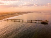 Aerial view of the pier near Venice beach. In Los Angeles during sunrise Stock Photography
