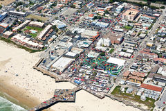 Aerial view of pier at Pismo Beach, CA Royalty Free Stock Images