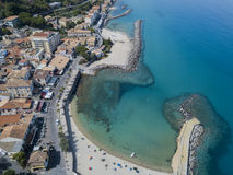 Aerial view of a pier with rocks and rocks on the sea. Pier of Pizzo Calabro, panoramic view from above. Calabria, Italy Stock Photography