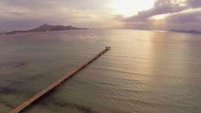 Aerial view of pier stock video