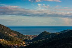 An aerial view of Pietra Ligure, Liguria. Pietra Ligure, a nice small city in Liguria, italy royalty free stock photography