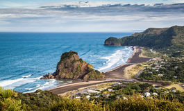 Aerial view of Piha Beach. And Lion Rock stock photography
