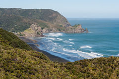 Aerial view of Piha beach and Waitakere Ranges. In New Zealand Stock Photography