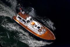 Aerial view of pilot boat at night Stock Image