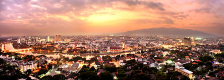 Aerial view of Ping River across Chiang Mai city with beautiful Royalty Free Stock Photo