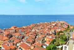 View of Piran, Slovenia. Aerial view of Piran, town on the Adriatic Sea, one of Slovenia`s major tourist attractions, with medieval architecture, narrow streets stock photos