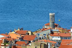 View of Piran, Slovenia. Aerial view of Piran, town on the Adriatic Sea, one of Slovenia`s major tourist attractions, with medieval architecture, narrow streets stock images