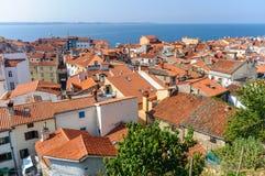 Aerial view of Piran town Stock Image