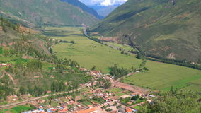 Aerial view of Pisac and Sacred Valley of the Incas stock video footage