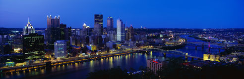 Aerial view of Pittsburgh, PA skyline stock photos
