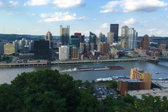 Aerial view of the Pittsburgh, Pennsylvania skyline Royalty Free Stock Image