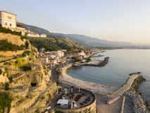 Aerial View of Pizzo Calabro, Calabria, Italy. Houses on rock pier and sea Stock Photos