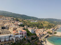 Aerial view of Pizzo Calabro, Calabria, tourism Italy. Panoramic view of the small town of Pizzo Calabro by the sea Stock Image
