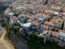 Aerial view of Pizzo Calabro, Calabria, tourism Italy. Panoramic view of the small town of Pizzo Calabro by the sea Royalty Free Stock Photo