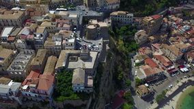 Aerial view of Pizzo Calabro, pier, castle, Calabria, tourism Italy. Panoramic view of the small town of Pizzo Calabro by the sea stock footage