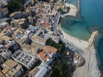 Aerial view of Pizzo Calabro, pier, castle, Calabria, tourism Italy. Panoramic view of the small town of Pizzo Calabro by the sea. Stock Photo