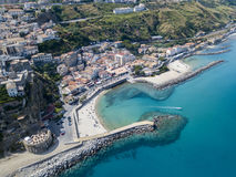 Aerial view of Pizzo Calabro, pier, castle, Calabria, tourism Italy. Panoramic view of the small town of Pizzo Calabro by the sea. Stock Photos