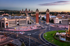 Aerial View on Placa Espanya and Montjuic Hill Royalty Free Stock Photography