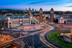 Aerial View on Placa Espanya and Montjuic Hill Stock Image