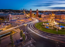 Aerial View on Placa Espanya and Montjuic Hill Royalty Free Stock Images