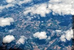 Aerial view from plain Stock Photos