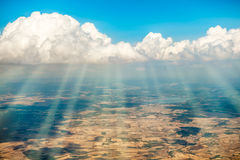 Aerial view from a plane to the land Stock Image