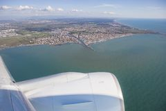 Aerial view from plane window of Leonardo da Vinci–Fiumicino A Stock Photos