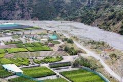 Aerial view plantations near gravel river Torrento Mazzarra at Sicily Royalty Free Stock Photos