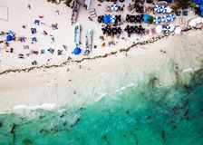 Aerial view of Playa del Carmen public beach in Quintana roo, Me. Aerial view of famous Playa del Carmen public beach in Quintana roo, Mexico Stock Photo