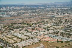 Aerial view of Playa Del Rey area. From airplane, Los Angeles, California Royalty Free Stock Images