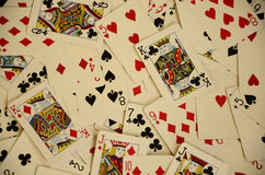 Aerial View of Playing Cards Thrown and Scattered on a Table Stock Photography